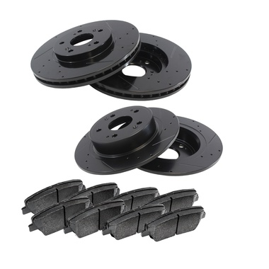 AutoShack PERF641251047 Front Drilled and Slotted Brake Rotors and Performance Ceramic Pads